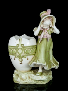 Figurine - Jardiniera, Girl with an Ostrich Egg, circa 1910