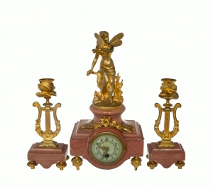 Secessionist Clock Garniture, France, early 20th century